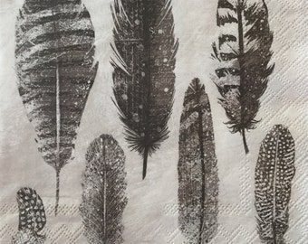 "3 Decoupage Napkins, Feathers Sand Grey 13"" x 13"""