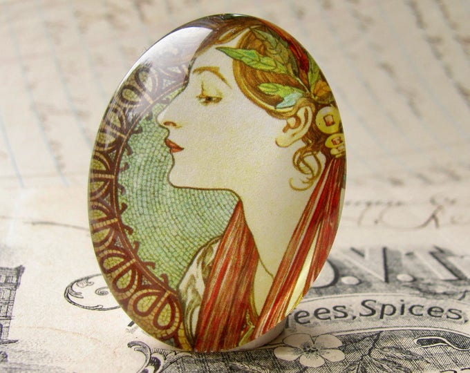 "From our Art Nouveau collection, Mucha's  ""Laurel"" print, Le Laurier, handmade cabochon, 40x30 40x30mm, glass oval cabochon, green sage"
