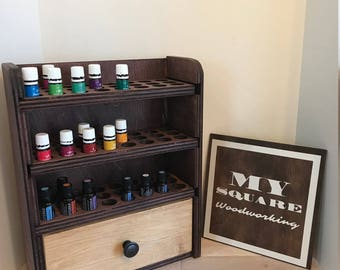 Essential oil storage shelf (holds 72 bottles) with drawer