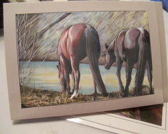 greeting card print of original art-  watering hole horses