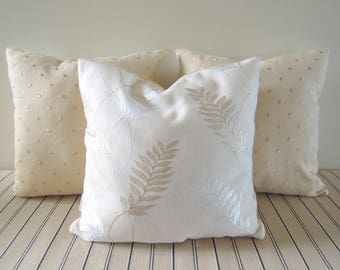 Shimmering Leaves Pillow Covers, 16x16, Toss Cushions, Pale Gold, White, Ivory, Embroidered Dots, 16x16