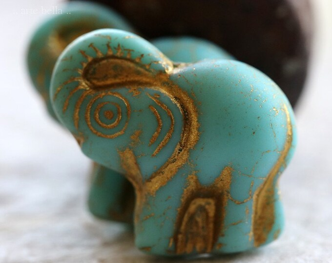 GOLDEN TURQUOISE ELLE .. New 2 Premium Picasso Czech Glass Elephant Beads 20x23mm (6405-2)