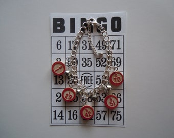 Bingo Bracelet - Metal Bingo Charm Bracelet with real Bingo Numbers and Bells