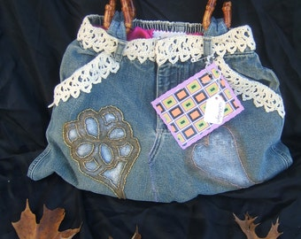 Denim Jean Hand Beaded Painted and Hand Crocheted Lace Purse Boho Upcycled