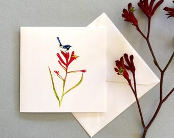 Mother's Day card, blue fairy wren, art card, kangaroo paw, get well card, birds and flowers, small gift