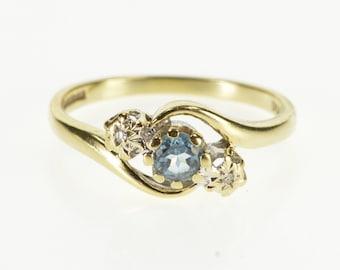 9K Three Stone Diamond Blue Topaz Freeform Ring Size 7 Yellow Gold