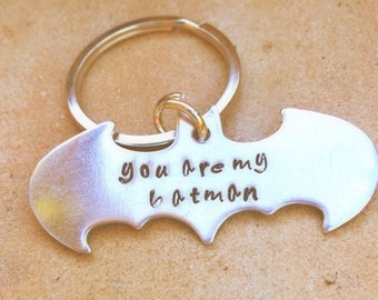 Batman, you are my batman,you are my hero, Batman key chain,Father's Day Gifts, personalized key chains, gifts for men,natashaaloha