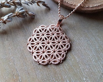 Chain life flower long rose gold 925 silver