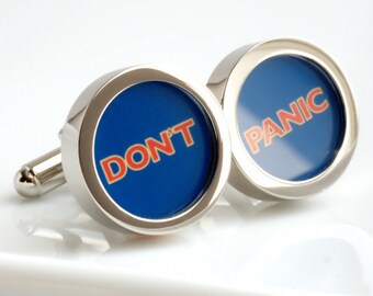 Don't Panic Cufflinks Great Advice Inspired by Hitch Hiker's Guide to the Galaxy Sci Fi Cufflinks Groomsmen Groom Cufflinks Fathers PC532