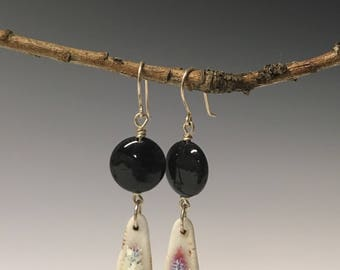 Porcelain and onyx rainbow drop earrings, sterling silver