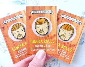 Murray enamel pin badge - Flight of the Conchords - ginger balls lapel pin. Unique and funny gift. Pop culture, New Zealand Brooch