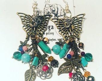 Butterfly Ohm Droplet Earrings