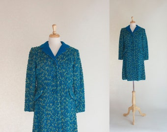 60s Coat / Vintage 60s Coat / Boucle Knit Coat / Turquoise Coat / Mad Men Coat / Spring Coat / Vintage Outerwear / Coat /  Size Small