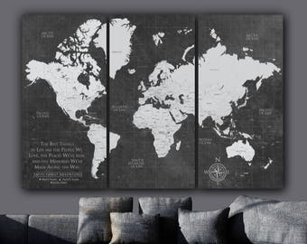 Current Push Pin World Travel Map / Gallery Wrapped Art, World Map Canvas Art, Push Pin Custom Map, Large Wall Art, Travel Gifts