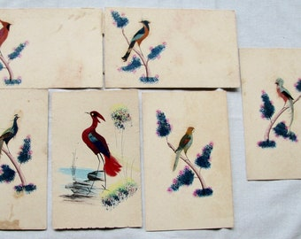 Vintage Postcards Birds Set Feathers Lot 6 Made in Mexico