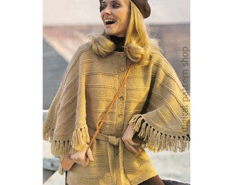 Cape Jacket Knitting Pattern Vintage Sweater Cape Pattern Womens Poncho PDF Instant Download - K121