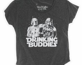 Star Wars Shirt - Womens Star Wars Shirt - Craft Beer Shirt - Darth Vader and Boba Fett Beer Shirt - Drinking Buddies on a Womens Dolman