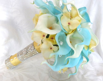 Blue and white real touch Calla lily wedding bouquet with yellow hydrangea accents