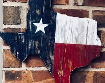 Handmade Texas sign with aged reclaimed wood. Hand painted and will add that rustic feel for indoor or outdoor decor.