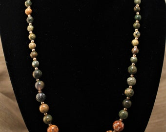 Natural Rainforest Jasper and Tibetan Agate Stone Necklace