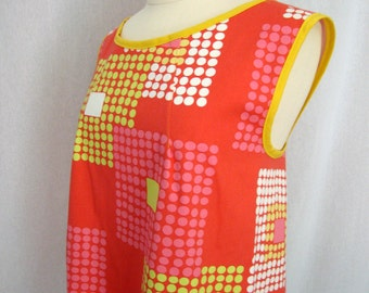 Crossback Apron Smock, Artist Apron with Pink, Yellow, White Large Squares on a Pink Orange Background, Amy Butler Stone Path MADE TO ORDER