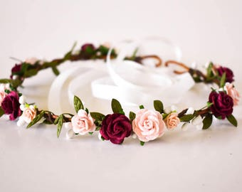 Burgundy and Blush Flower Crown. Blush flower crown. Burgundy flower crown. Burgundy headpiece. Wine flower crown. Pink floral crown. Boho