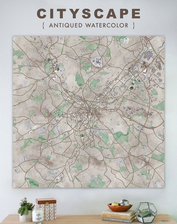 Map of Sheffield large canvas city maps watercolor map