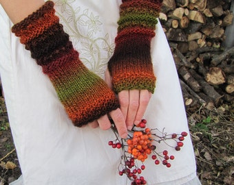 Fingerless Gloves Vegan Arm Warmers Long Knitted Mittens Warm Knit Gloves Hand Wrist Warmer Winter Fall Gloves WoodLand Womens Boho Gift Her