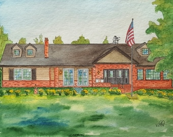 Architectural sketch, building, bed and breakfast, office building, watercolor illustration of your business, hotel, Wedding Venue Portrait
