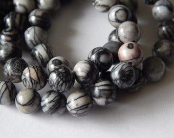 8mm Mesh Jasper Round Gemstone Beads