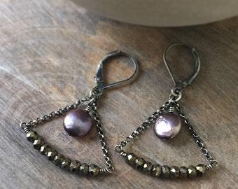 Pyrite Chandelier Earrings, Pyrite Gemstone Earrings, Peacock Pearl Earrings, Boho Jewelry, Sterling Silver Dangle Earrings, Gift for Her