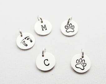 """Add A 3/8"""" Charm, Any Initial, Sterling Silver S1146"""