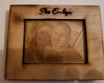 laser engraved wedding family photo engraving frame wood picture gift mom custom personalized