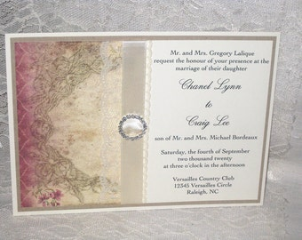 Lace Wedding Invitations Rose II Collection French Market Elegant, Shabby Chic, Vintage Inspired, Haute Couture Invitations
