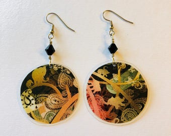 Bold Print Recycled Magazine Earrings