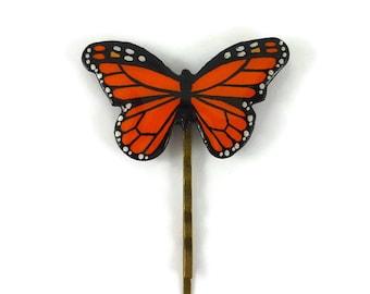 Epingle à cheveux papillon Monarque orange et noir, barrette papillon, accessoire à cheveux éco-responsable en plastique peint (CD recyclé)