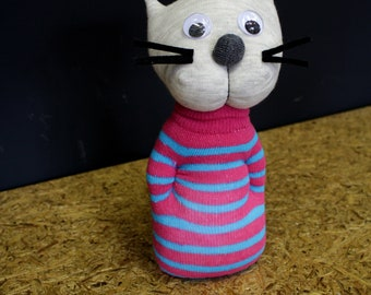 Kitty Sock Toy Pink And Blue Stripes Big Eyes Cat Soft Stuffed Sock Baby Shower Gift