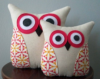 Owl Pillow - Pink & Orange Flowers - Girls Room Decor - Summer Collection - Large or Small