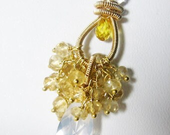 Citrine Gemstone Cluster Pendant Quartz Gold Statement Necklace