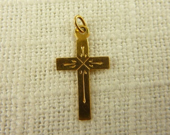 Vintage 10K Gold Petite Cross Child's Charm (Two Available)