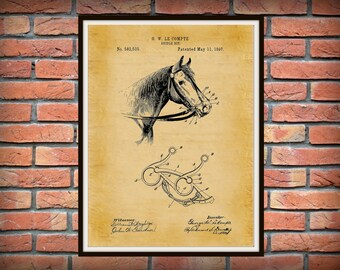 Patent 1897 Bridle Bit for a Horse - Art Print Poster -  Western Art - Cowboy Wall Art - Equine Art - Snaffle Bit - Horseback Riding Tool