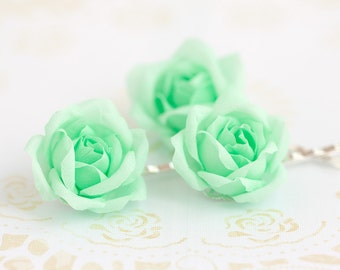 71 Mint hair accessories, Mint flower, Green hair flower, Floral pins, Bridal hair flower, Bridal hair flower, Mint flower hair, accessory