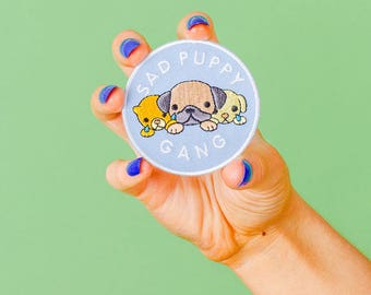 SALE* Sad Puppy Gang Embroidered Iron On Patch // Dog/Puppy Patch, Customise/Embroidery/ Patch Game // PT036