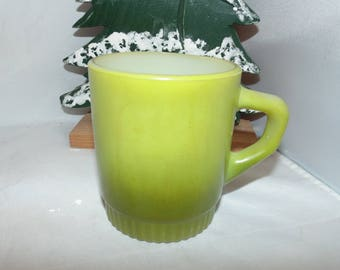 Vintage fire king anchor hocking mug coffee green olive ombre Fireking