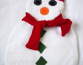 Heating pad flax seed, to put in microwave hot/cold snowman with snow, Christmas gift idea, winter, humor.