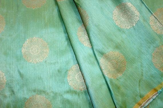 Green and Silk Brocade Fabric Motifs Weaving Art Silk for