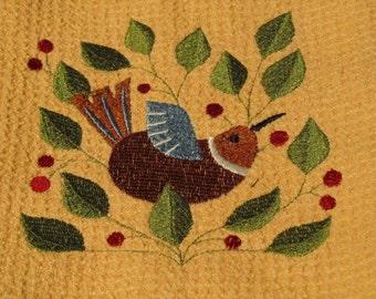 Bird in Berry Vine (Butter) - Microfiber Waffle Weave Kitchen Hand Towel