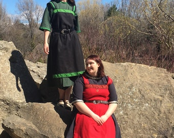 Viking Apron Dress - One Size Fits Most - Womens Apron Dress - Your Choice of Fabric Color & Trim - Made to Order