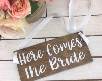 """Here Comes The Bride Sign-Rustic Here Comes The Bride Sign-12""""x 5.5"""" Wood Sign"""