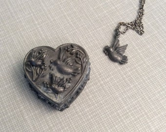 Pewter Jewelry Set - Bird Necklace, Earrings, Pin, and Jewelry Box